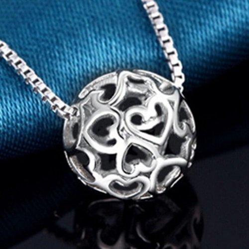【米蘭精品】925純銀項鍊吊墜-心型浪漫唯美生日情人節禮物女配件銀飾73y35