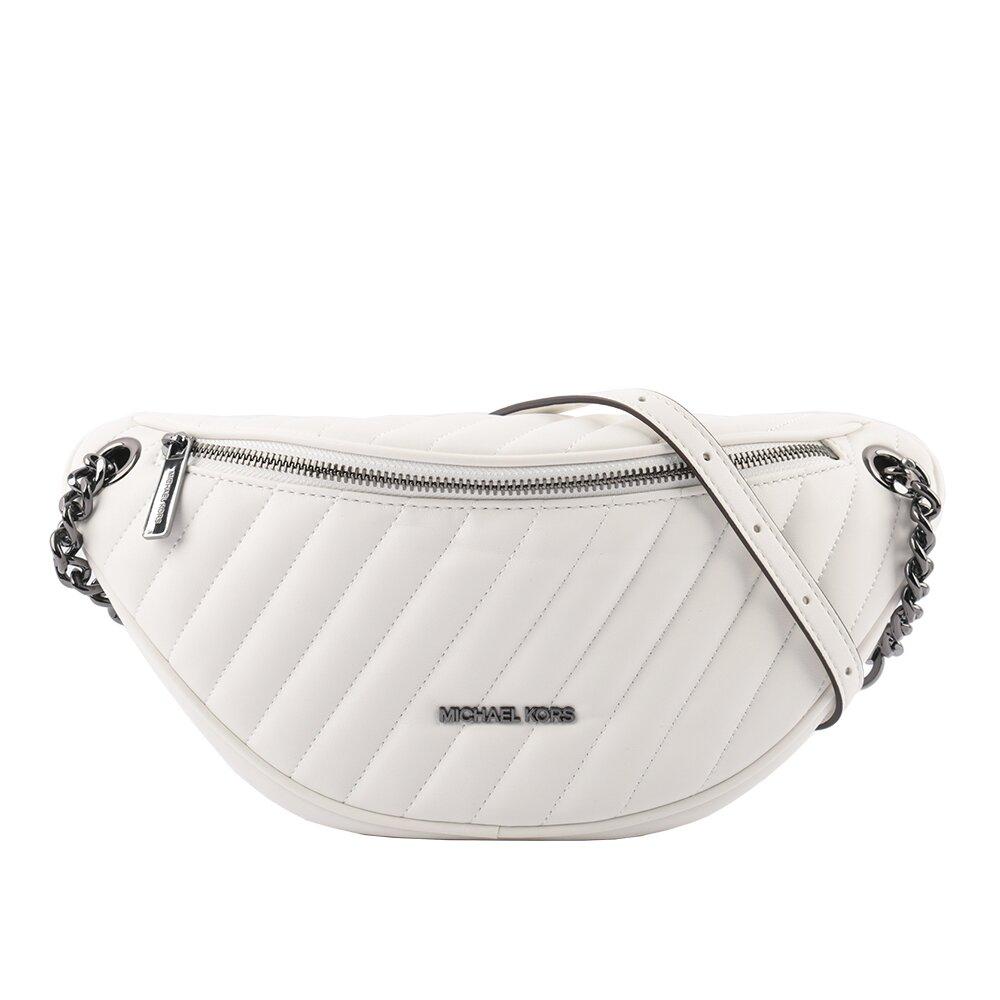 MICHAEL KORS Peyton 素面皮革斜縫線設計鏈帶斜背/腰包(大)(白色) 35T0UP6C7U OPWHI