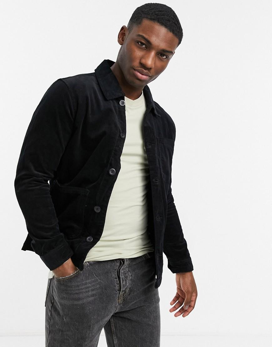 Brave Soul doron worker jacket with pockets in black cord
