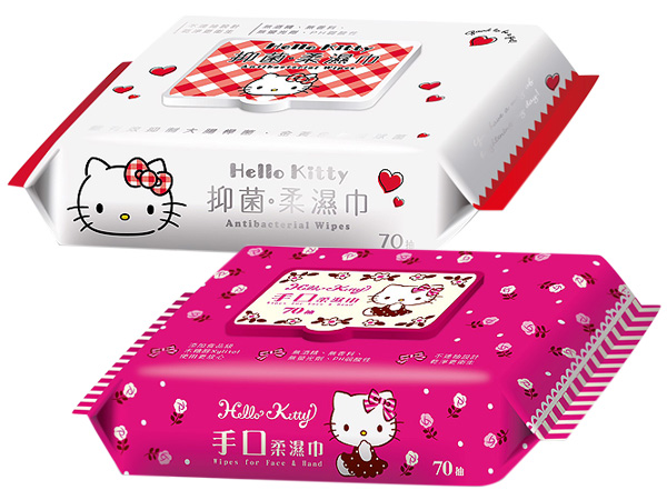 Hello Kitty~抑菌柔濕巾/手口柔濕巾(加蓋70抽) 款式可選【D503700】三麗鷗授權