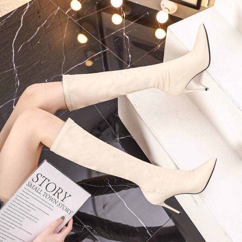 【秋冬·秒殺·過膝 】白色長靴顯瘦小個子 年新款騎士高筒靴不過膝高跟細跟瘦瘦靴子