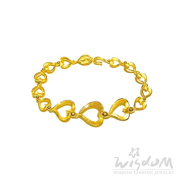 威世登 黃金彩絲心型手鍊 約2.84~2.86錢 GJ00103C-AFXX-FIX