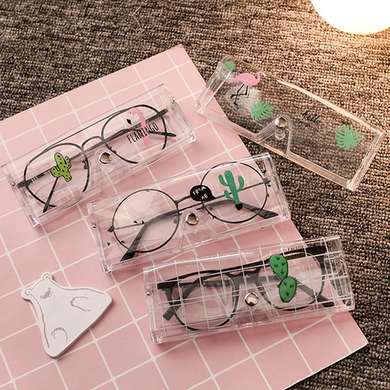 創意可愛小清新眼鏡收納盒便攜式塑料透明輕便近視眼鏡盒女款