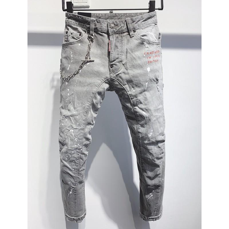 dsq2牛仔長褲 D2牛仔褲 風直筒拼接復古顯瘦長褲 dsquared2破洞牛仔褲 水洗丹寧牛仔褲4482