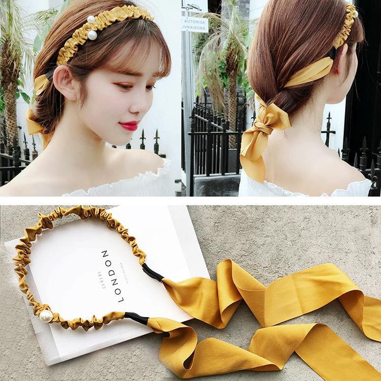 熱賣韓國簡約珍珠蝴蝶結發箍頭箍純色日韓復古飄帶發飾發帶成人頭飾