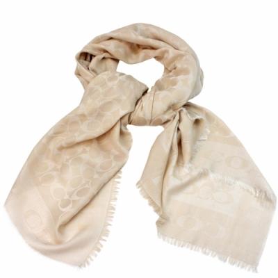 COACH  義大利製 經典C緹花保暖舒適方型圍巾/披肩 _淺米色