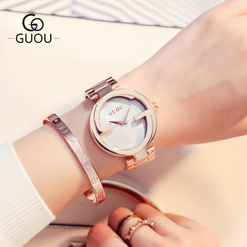 VIVILIAN精緻工藝高質感簡約雙G無刻度復古百搭純鋼女錶