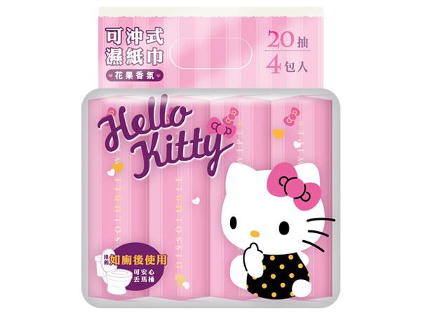 Hello Kitty~可沖式濕紙巾(花果香氛)20抽x4包入【D503649】三麗鷗授權