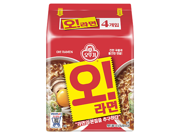韓國不倒翁~OH拉麵(牛骨湯拉麵)125gx4包【D526126】