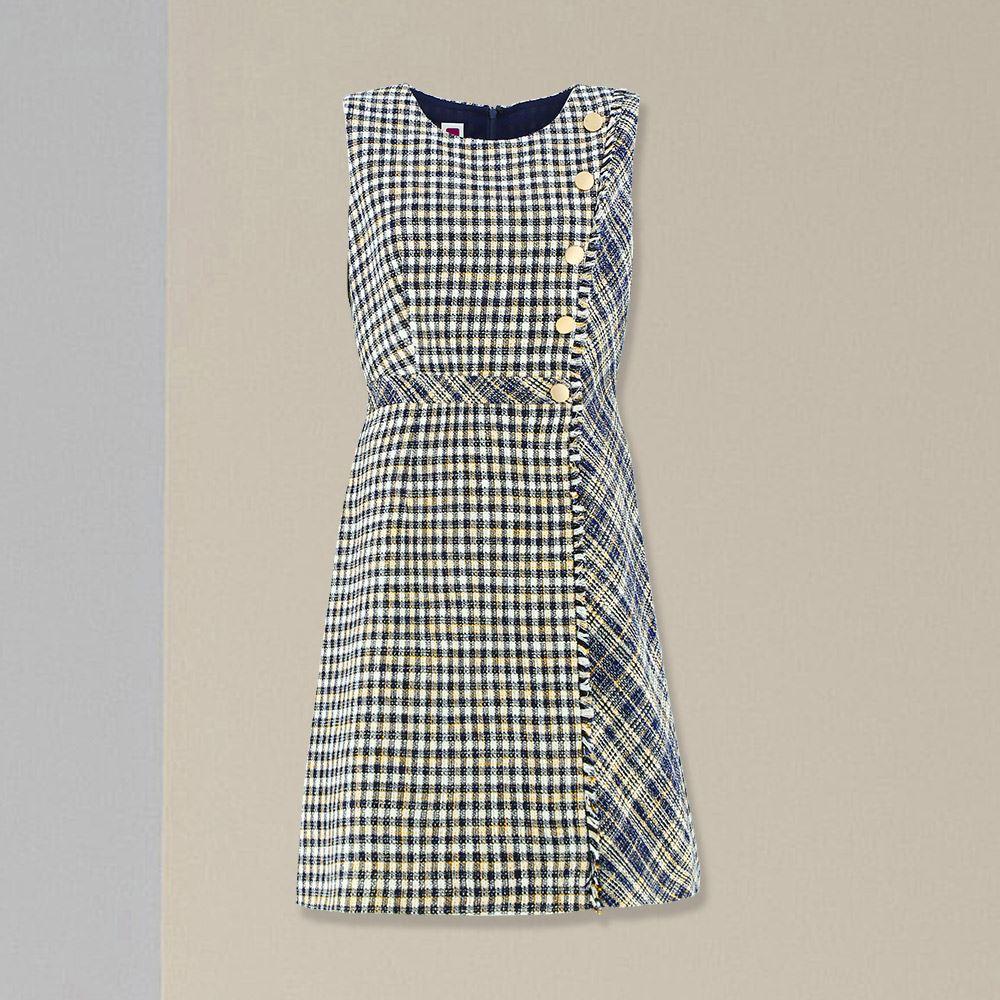 ILEY伊蕾 小香風花紗格紋拼接修身無袖洋裝(藍)057733