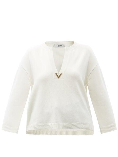Valentino - V-gold Cashmere Sweater - Womens - Ivory