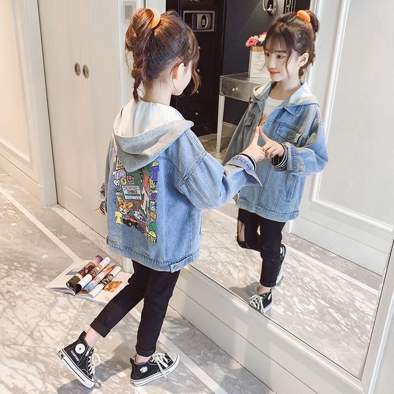 牛仔連帽外套中大童秋裝時髦新款韓版兒童上衣女童網紅夾克hs