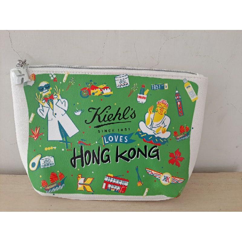 cindy香港代購,kiehl's香港景點大佛纜車圖案帆布化妝包/小包