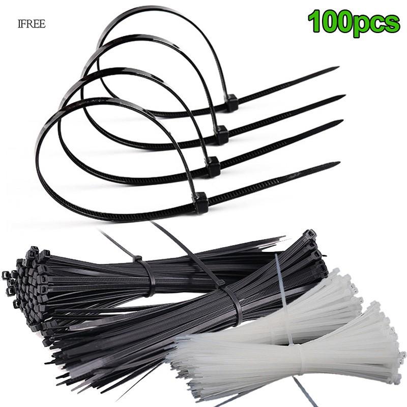 100 件 Abs 塑料紮帶拉鍊固定線纏繞帶固定