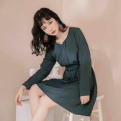 簡約質感造型反折袖洋裝-OB大尺碼