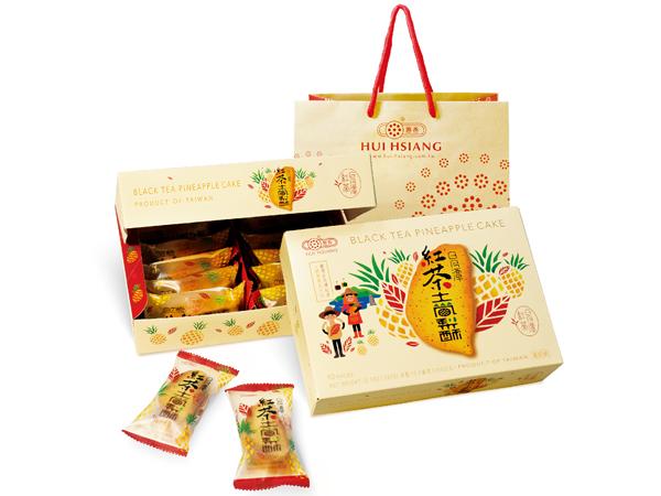 惠香~臺灣造型日月潭紅茶土鳳梨酥禮盒350g(10入)附提袋【D004592】
