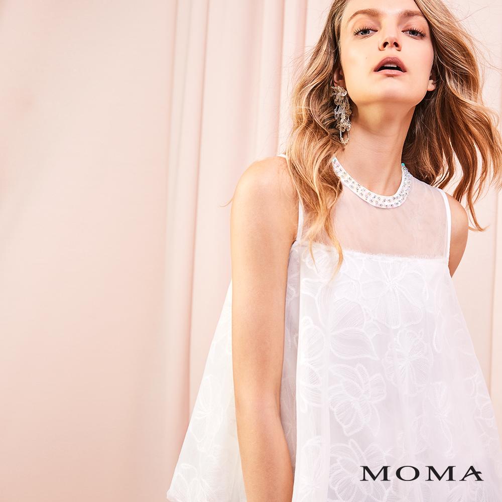 MOMA(01G014)手縫鑽飾網紗上衣