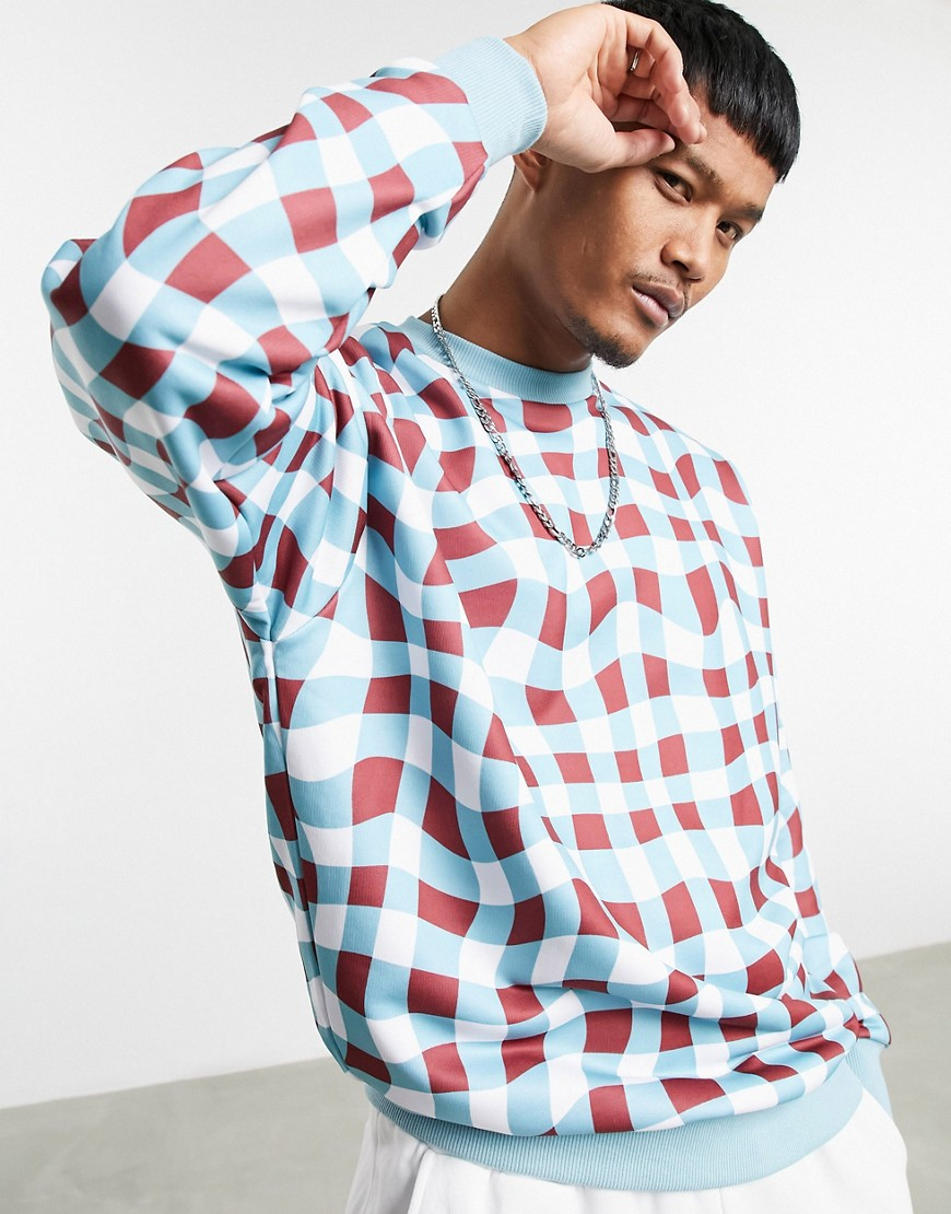 ASOS DESIGN oversized sweatshirt with all over check print-Multi