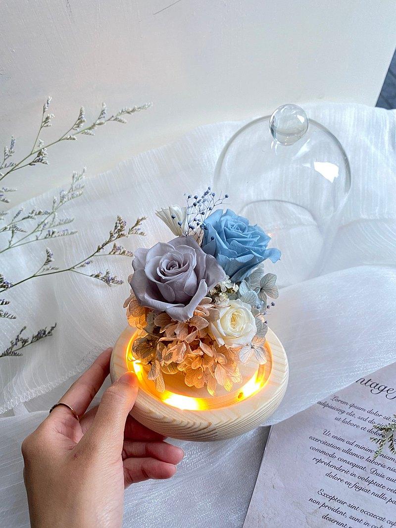 永生花/不凋花 玻璃小燈鐘罩-小溪