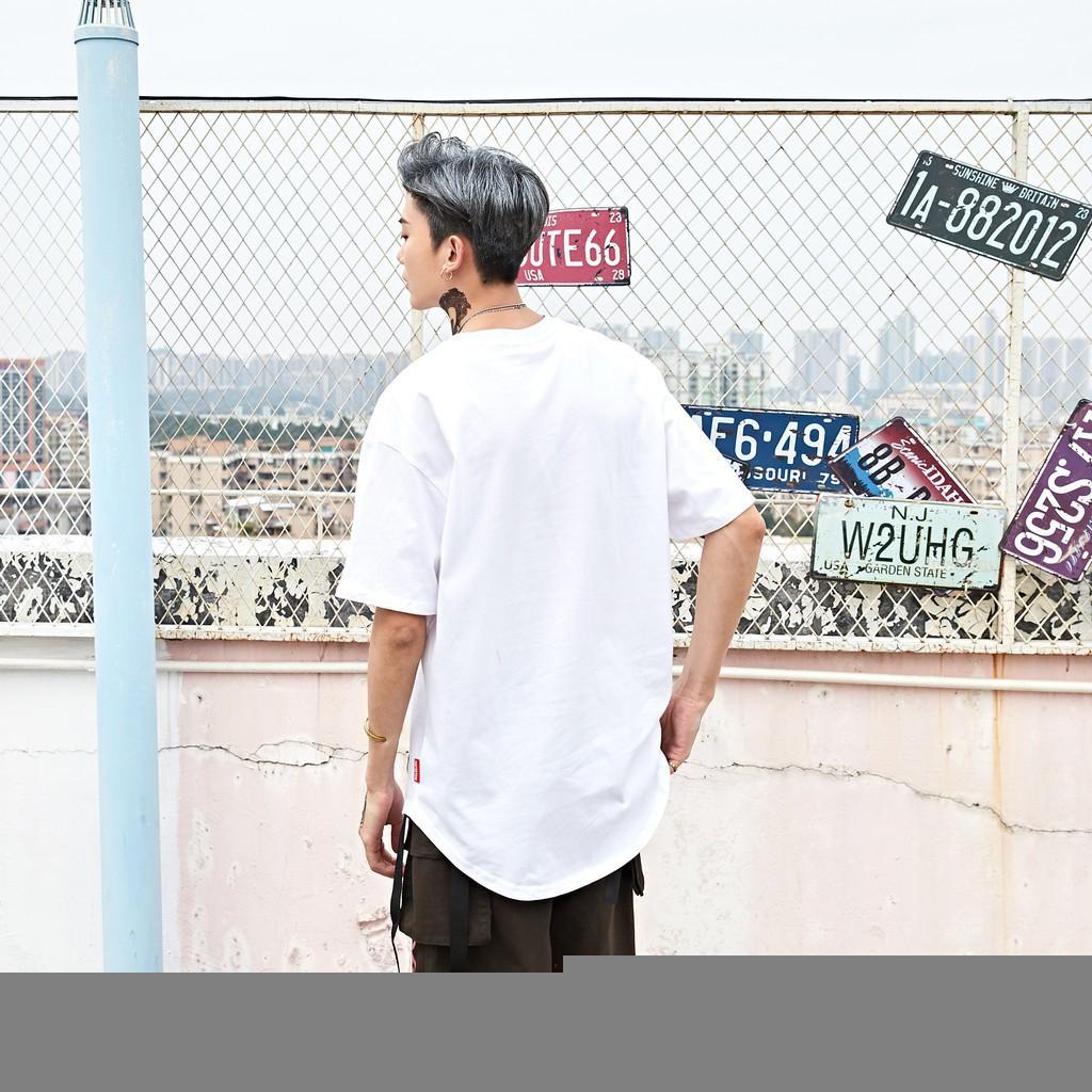 【花田家】高街純色圓弧中長款短袖男女百搭打底衫分叉下擺T恤
