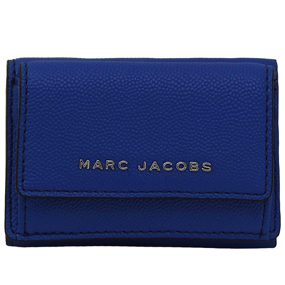 MARC JACOBS 馬克賈伯 專櫃商品 浮雕LOGO粒紋三折扣式小短夾.藍
