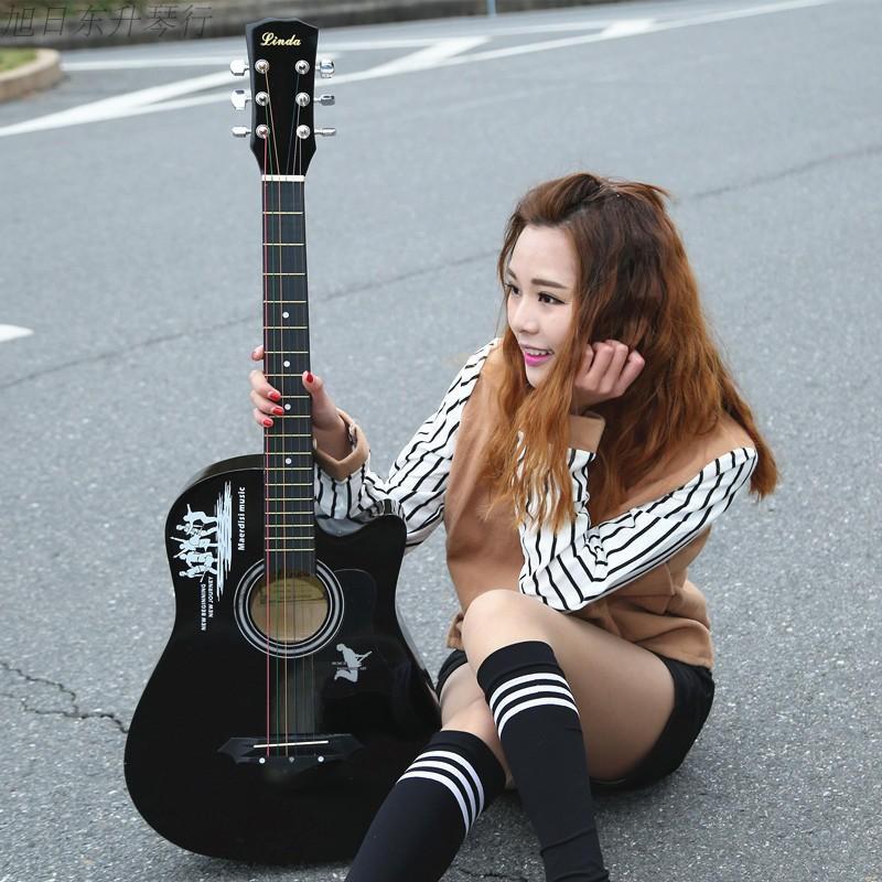 38寸民謠木吉他初學者男女學生練習樂器送大禮包新手入門jita