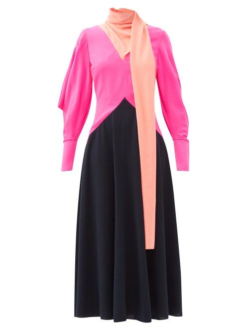 Roksanda - Malika Colour-block Wool-crepe Midi Dress - Womens - Multi