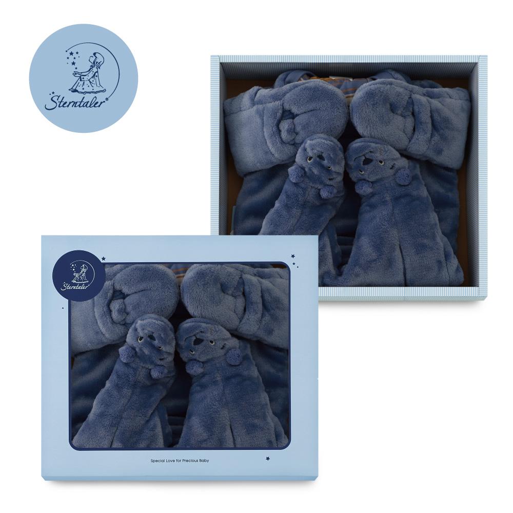【彌月禮推薦】STERNTALER 藍熊長袖厚兔裝禮盒/彌月禮盒-(62-74cm)  C-5501582-345