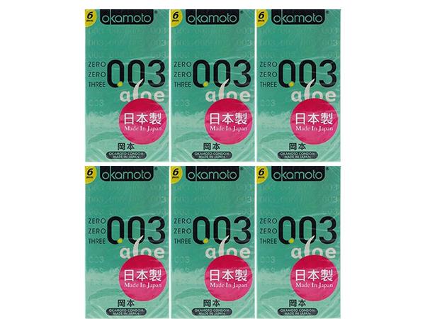 日本 okamoto 岡本~003衛生套(蘆薈精華)6入x6盒 組合款  保險套【D695239】