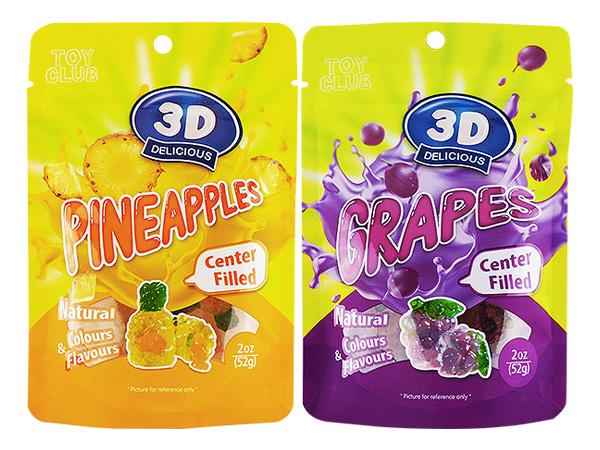 馬來西亞 TOY CLUB~3D鳳梨/葡萄爆漿軟糖(52g) 款式可選【D050502】