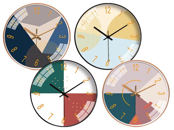 10吋現代插色簡約風靜音時鐘(1入) 款式隨機出貨【D021814】