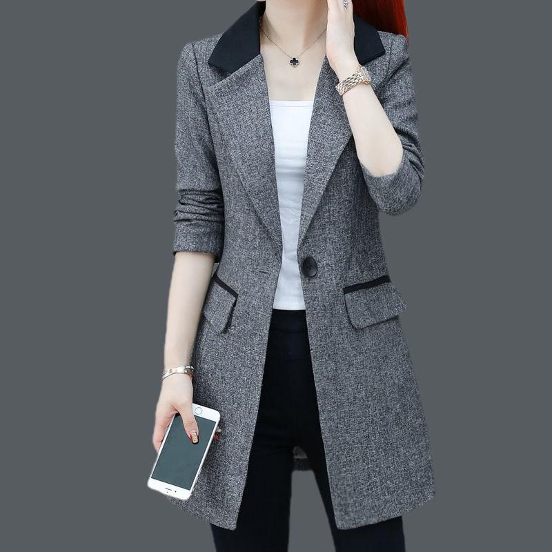 ❥( _-)皮小妹雜貨鋪大碼秋裝外套女新款2020百搭長袖職業工裝外套休閑中長款西服上衣