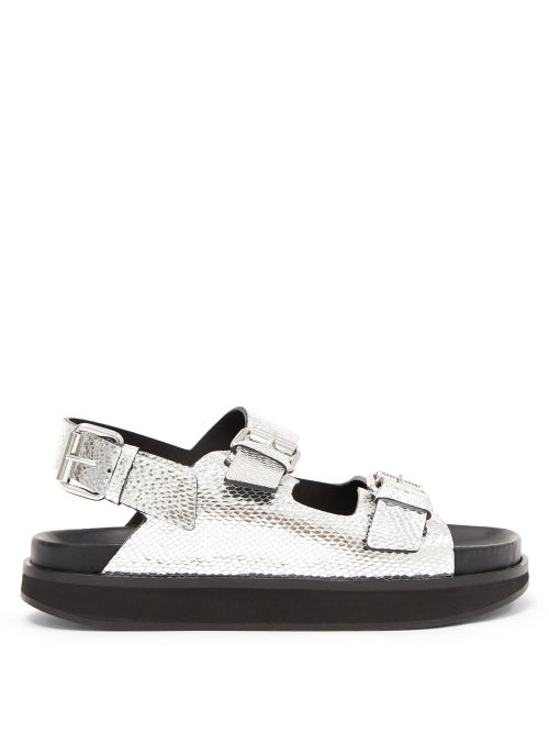 Isabel Marant - Ophie Buckled Snake-effect Leather Sandals - Womens - Silver