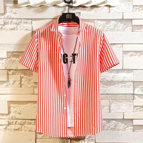 夏季新品短袖襯衫男豎條紋商務修身寸衣印花衣服男裝夏天潮流 快速出貨