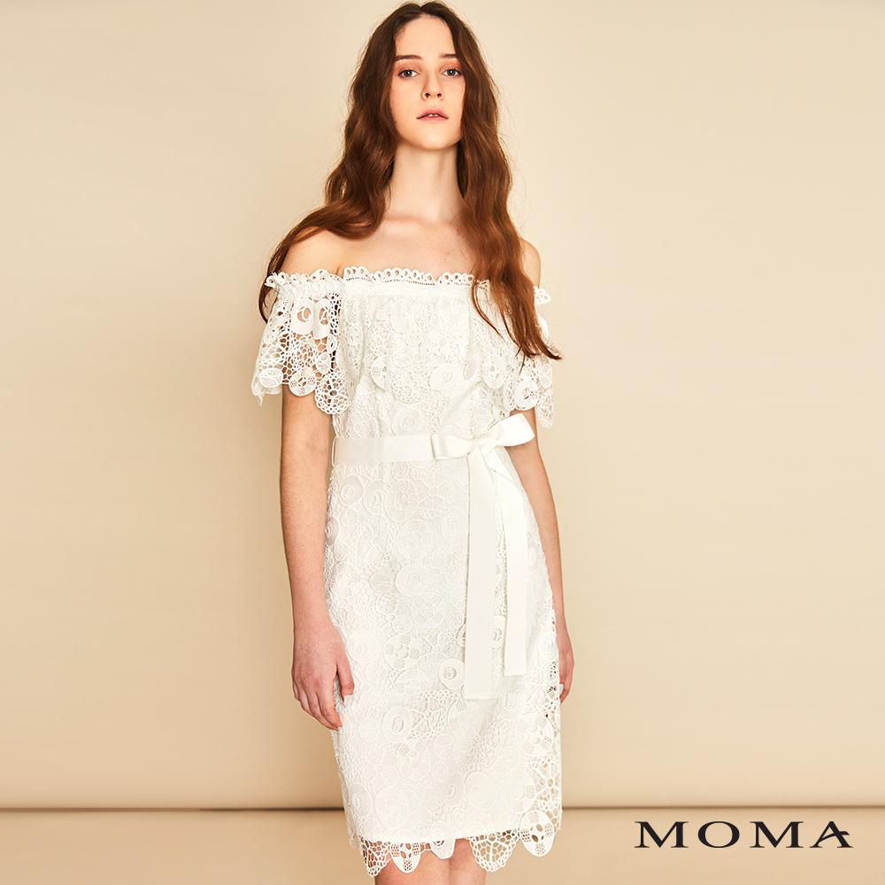 MOMA(01D004)露肩蕾絲洋裝