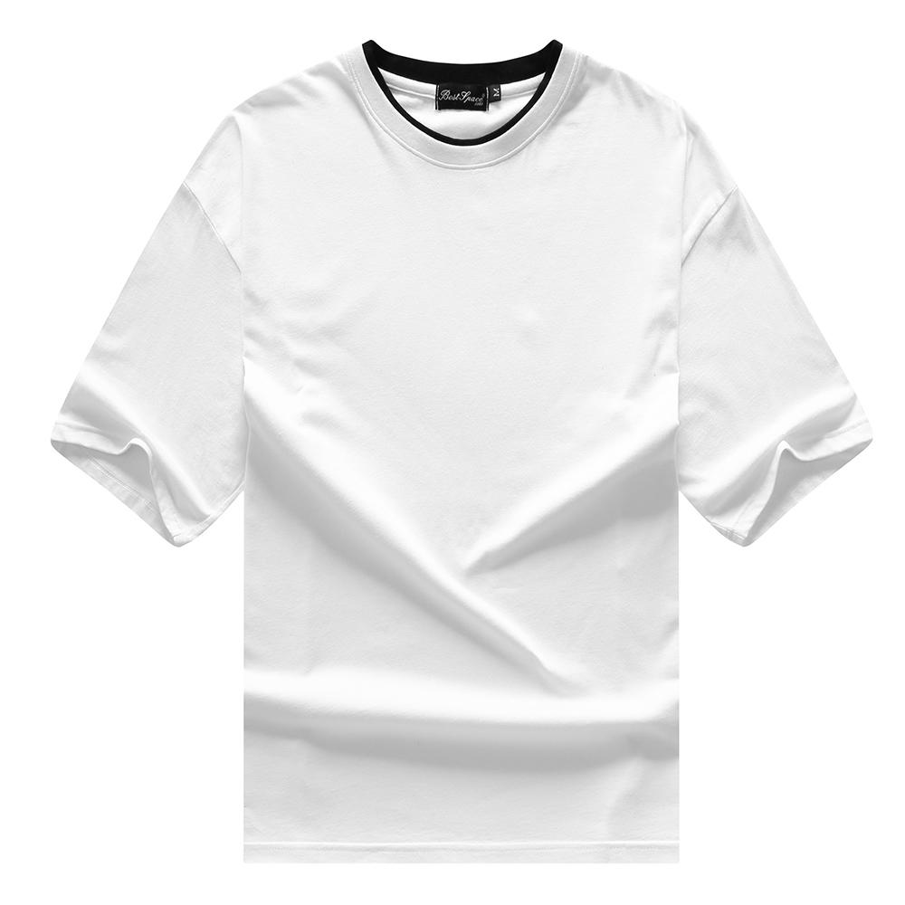 現貨在台 MIT 台灣製造100%精梳棉 5色 雙領假兩件落肩五分袖OVERSIZE下擺開叉寬T 男女款【QJFJ5590】