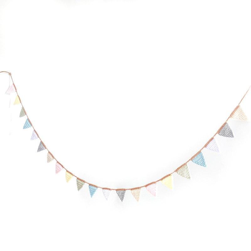 編織糖果色三角旗串 | 掛飾