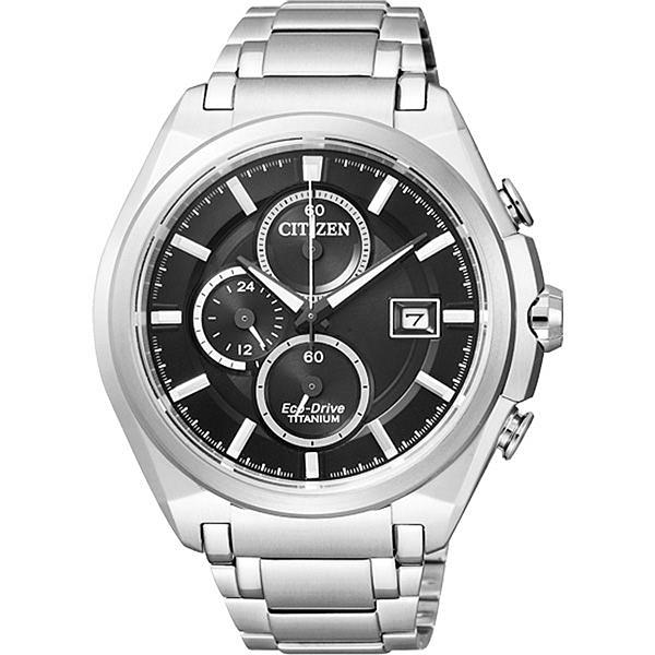CITIZEN 怡然自得光動能鈦金屬三環腕錶(鋼帶-銀黑)