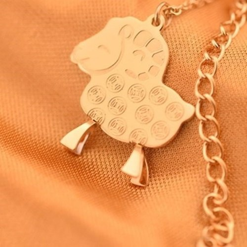 【米蘭精品】玫瑰金純銀項鍊吊墜-生日禮物可愛銅錢小綿羊飾品71x97