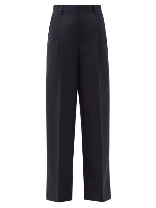 Officine Générale - New Sophie Box Pleated Wool-fresco Trousers - Womens - Navy