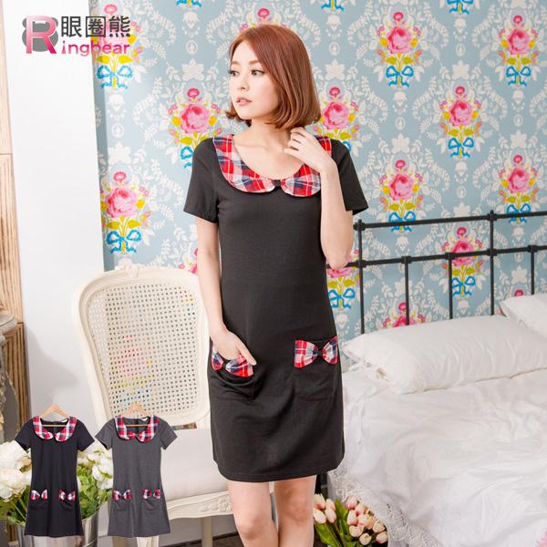 洋裝--學院氣息格紋娃娃領口袋蝴蝶結造型修身短袖洋裝(黑.灰M-2L)-D302眼圈熊中大尺碼