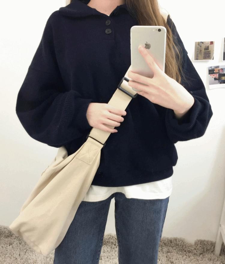 韓國空運 - Spread Collar Cotton Sweatshirt 長袖上衣