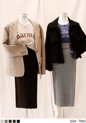 韓國空運 - 後開衩混羊毛針織長裙 裙子