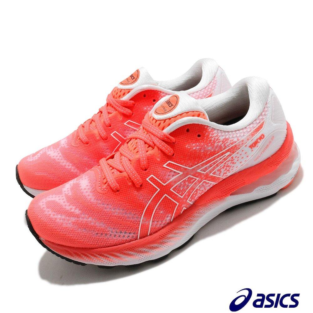 ASICS 慢跑鞋 Gel-Nimbus 23 女鞋 亞瑟士 高緩衝 旭日紅 避震 柔軟 白 紅 [1012B140600]