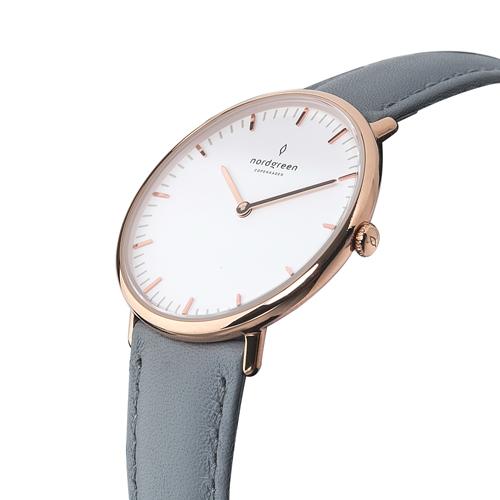 【限時短促88折up!】ND手錶 Native 本真 36mm 玫瑰金殼×白面 北極灰真皮錶帶 Nordgreen 北歐設計師手錶 NR36RGLEGRXX 熱賣中!