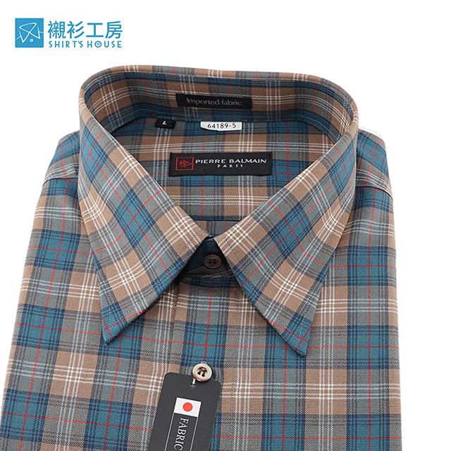 皮爾帕門pb天空藍格紋、對花對格、薄羊毛進口素材、寬鬆版下擺齊支可當襯衫外套64189-05-襯衫工房