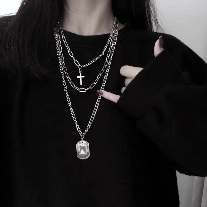 【現貨秒出】NS冷淡風多層十字架項鏈網紅暗黑男女情侶嘻哈吊牌三件套配飾