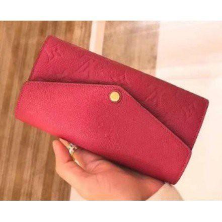 小鹿精品Lv長夾Louis Vuitton M62125 SARAH深藍+紅 壓紋 釦式長夾 發財包 現貨