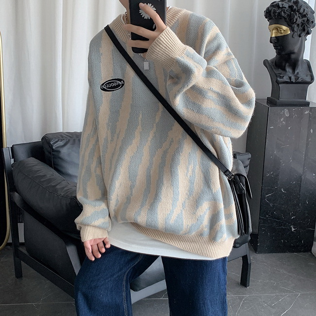 FOFU-ManStyle斑馬紋毛衣寬鬆慵懶外套韓版潮流個性針織衫線衣【08SB00022】