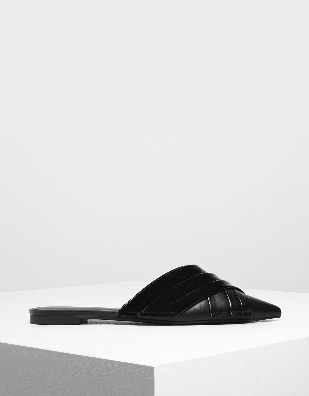 交叉百褶穆勒鞋